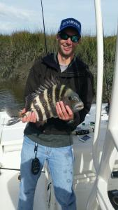 Capt. TJ Cheek has been whacking sheepshead like this one in the Brunswick area. The sheepshead bite should continue all winter.