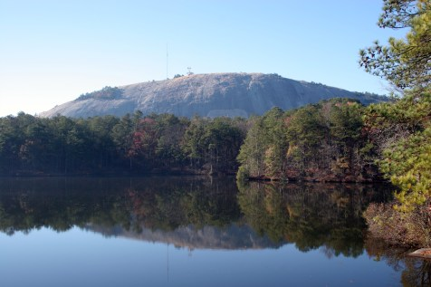 stone mountain, reflected in a lake