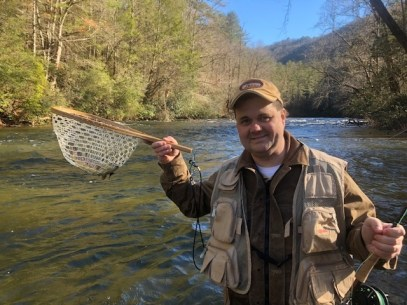 Netful of Brown Trout on Chattooga DH 12-24-18 Chatham Mills