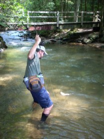 trout fishing cannon dukes landing at shelter aug 2008