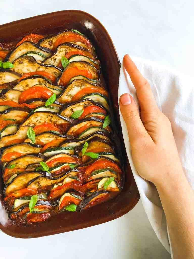 Rainbow Baked Ratatouille With Basil & Thyme - Vegan & GF - Georgie Eats