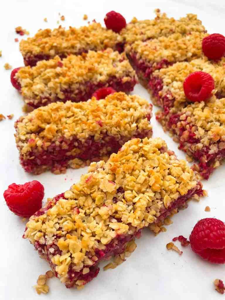 Coconut Raspberry Flapjacks! Vegan, GF & Healthy - Georgie Eats