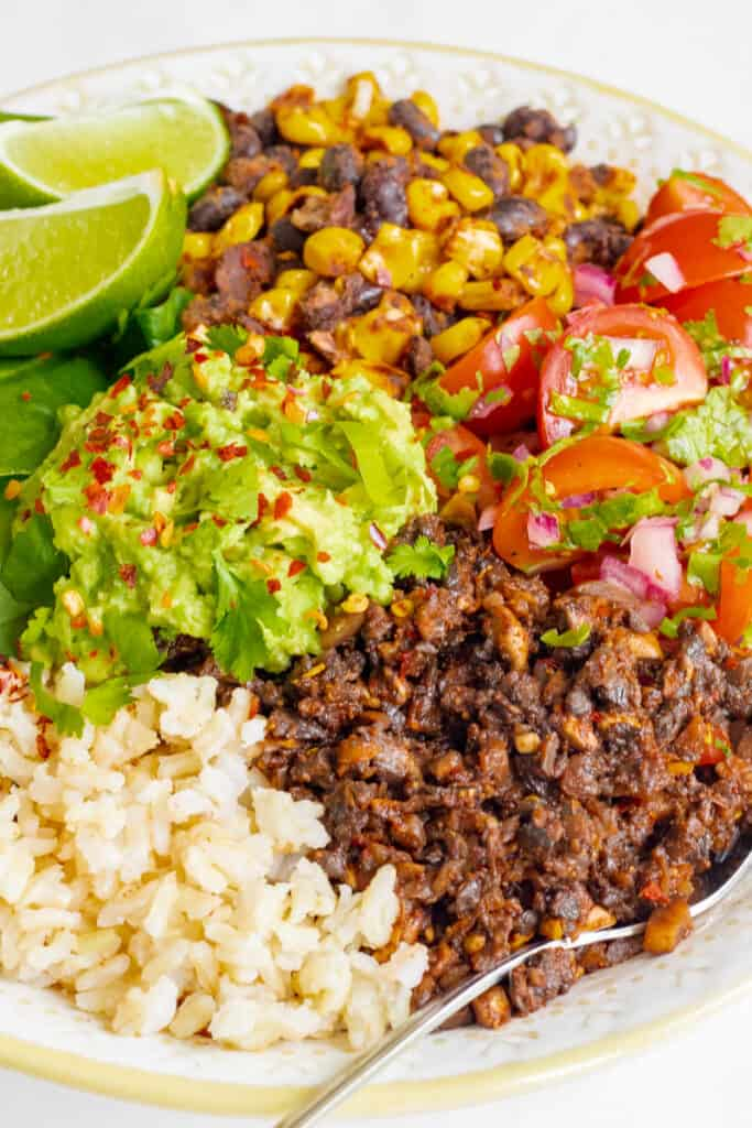 Mushroom Burrito Bowl  | vegan dinner recipes for beginners