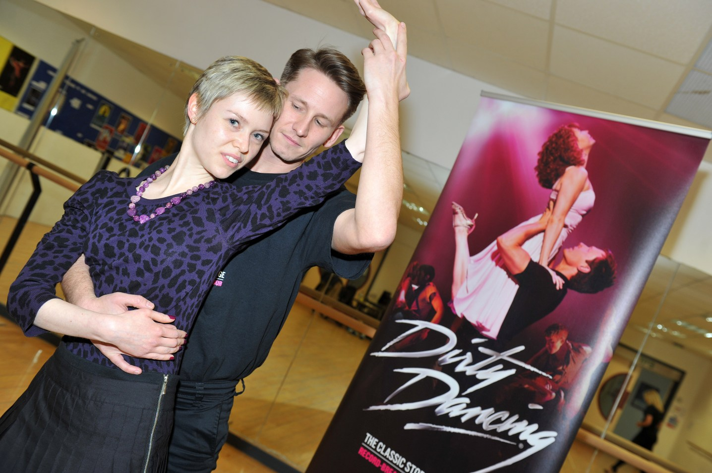 "Dirty Dancing press launch, February 2014. Georgina Butler recreates the Dirty Dancing ""tickle"" pose with James Bennett."