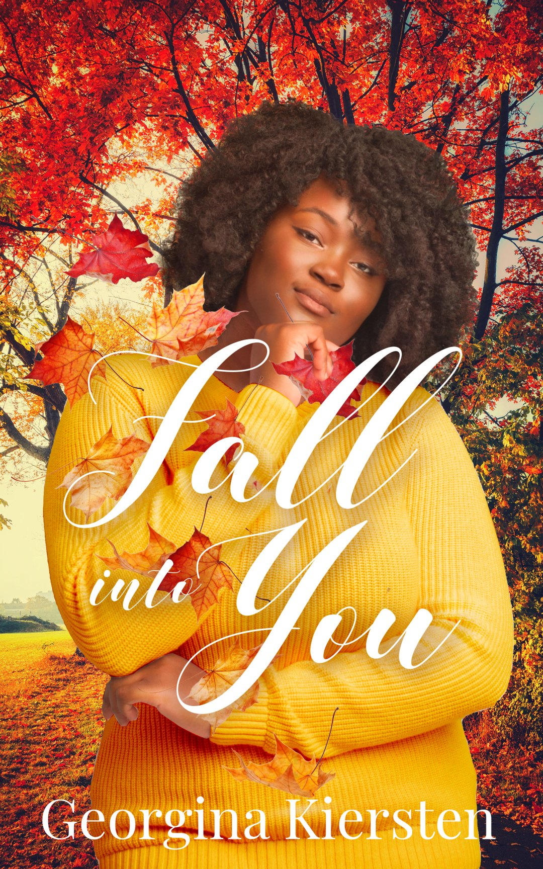 Fall Into You by Georgina Kiersten (cover) A plus size back woman standing a in the woods full of fall autumn flowers.