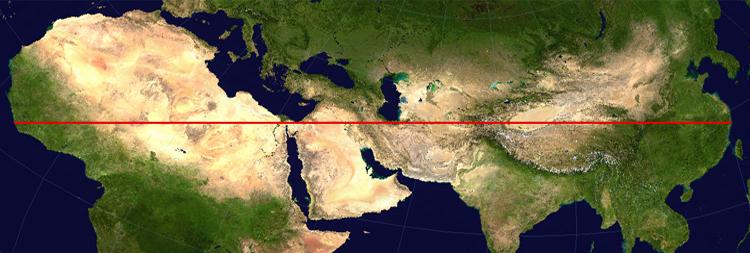 la carte montre le plus long chemin terrestre droit sur Terre