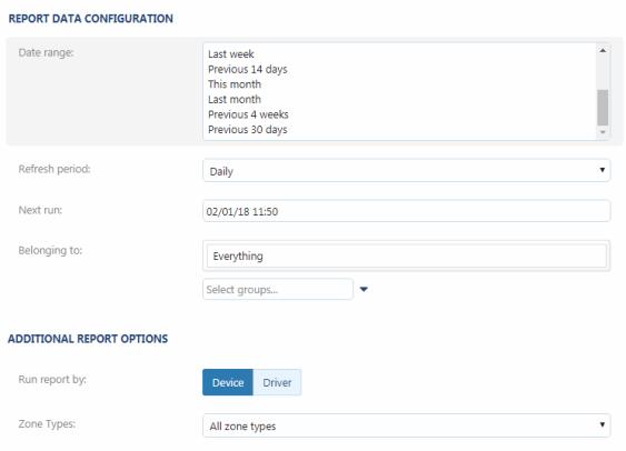 MyGeotab Report Data Configuration