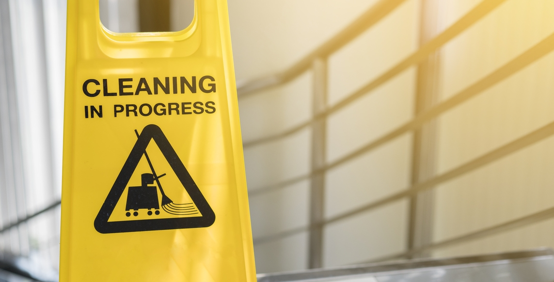 cleaning progress caution sign in office