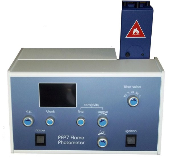 The Flame Photometer is a device is used in inorganic chemical analysis to determine the concentration of certain metal Ions, among them Sodium, Potassium, Lithium, Barium and Calcium.
