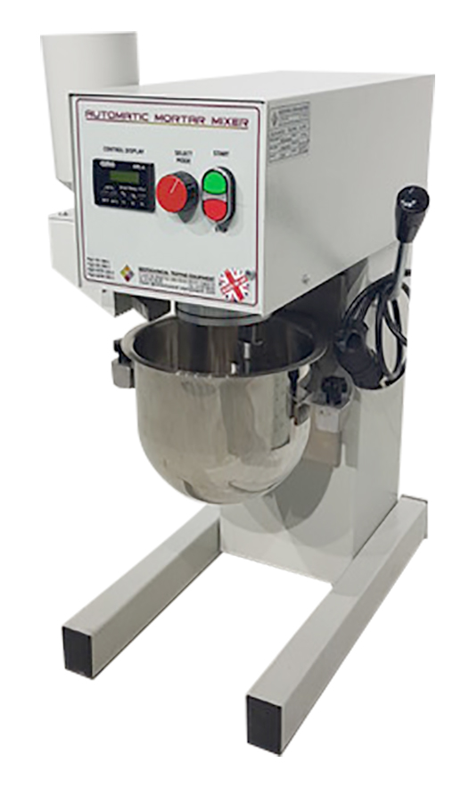 The Automatic Mortar Mixer is used to combine mortars and cement pastes to the requirement of standards. The mixing paddle has a planetary motion and is operated by a motor.