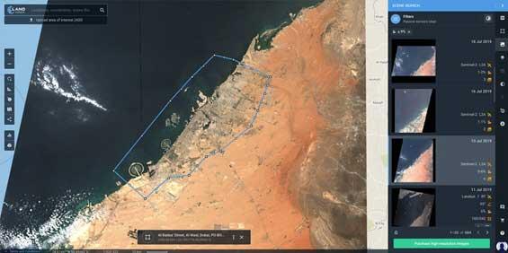 Mejorar las imágenes satelitales con LandViewer: Función Mosaico