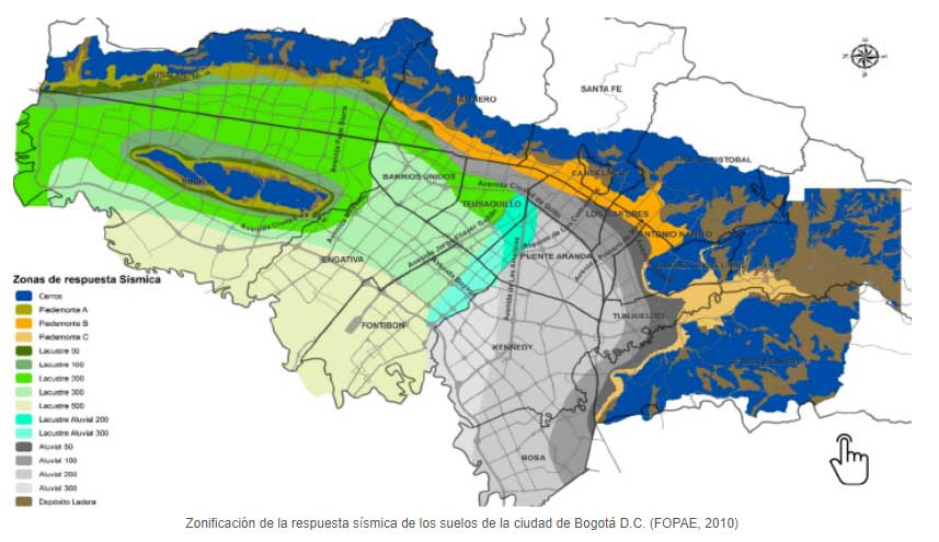 Zonificación sísmica Bogotá