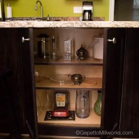 Inner cabinet storage in island