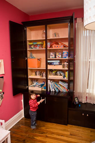 Custom designed children's room storage space solution