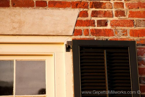 Historic Restoration wooden window shutter fabrication by local Virginia craftsmen