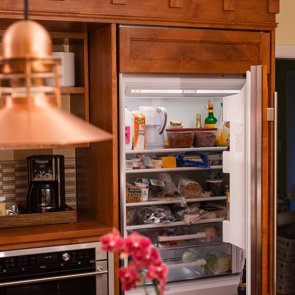 Solid Wood Refrigerator Facing Matches Kitchen Design_