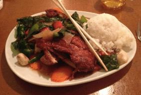 Basil Crispy Duck, Fresh Vegetables, and Rice