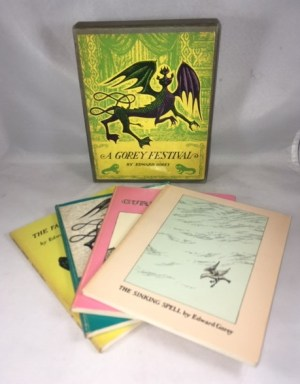 """A Gorey Festival: The Fatal Lozenge"""", """"The Sinking Spell"""" , """"The Hapless Child:, """"The Curious Sofa"""" [4 separate volumes in slipcase]"""