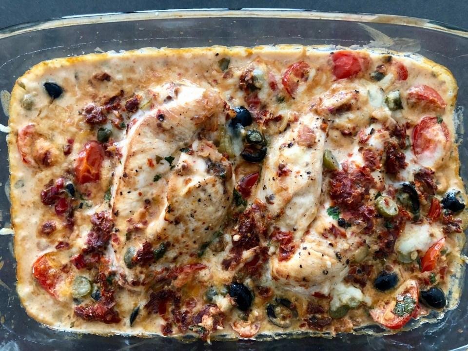 heerlijke ovenkip met een creme van zongedroogde tomaten
