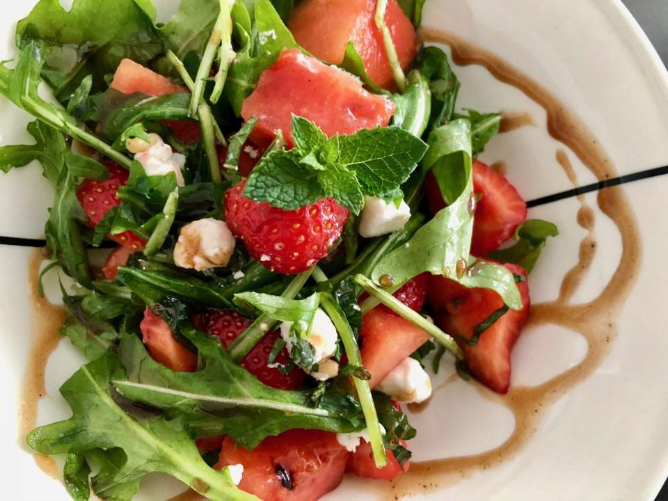 watermeloen-aardbei salade