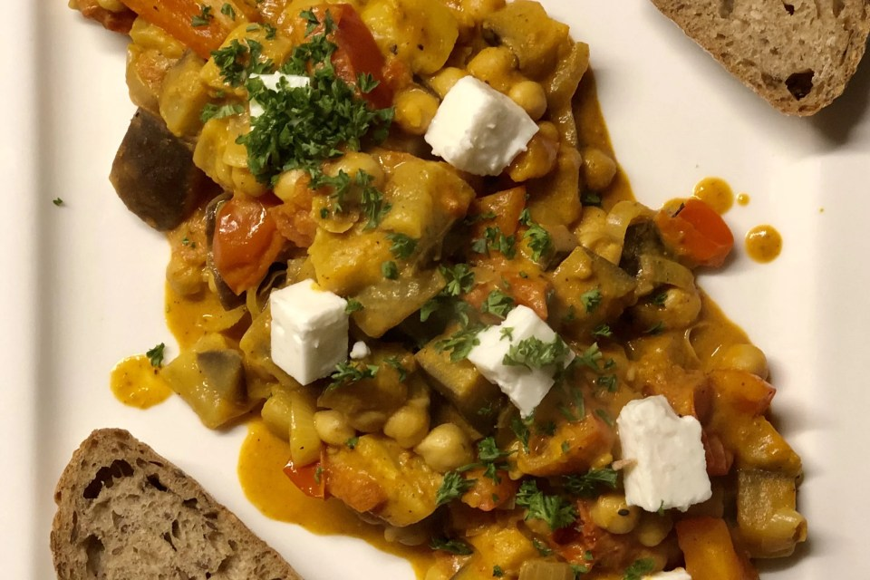 vegetarische kikkererwten curry