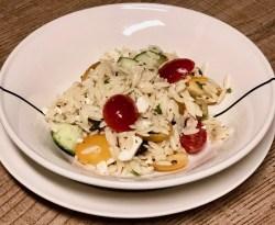vlugge vegetarische Griekse pasta salade
