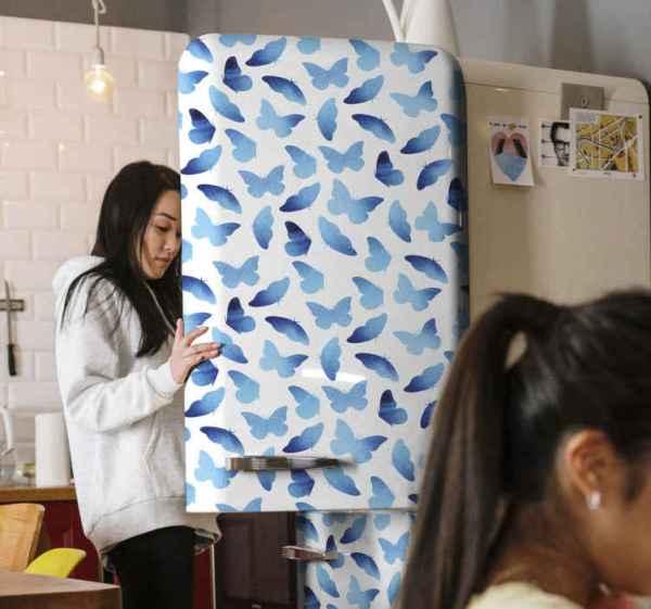 Koelkast stickers Geschilderde vlinders