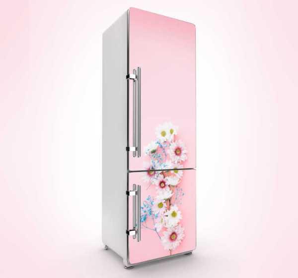 Koelkast sticker roze bloemen