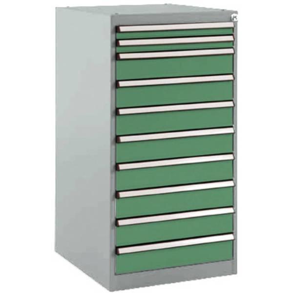 Manuflex SP1118.6011 Lade kast BASETEC stationair, gebruiksh. 900 mm met 10 lades, in Reseda groen RAL 6011