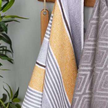 Catherine Lansfield Textured Stripe Bath Towel Range – Yellow/Grey