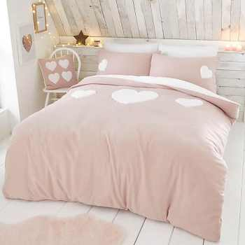 Catherine Lansfield Cosy Hearts Duvet Cover and Pillowcase Set