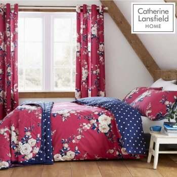 Catherine Lansfield Canterbury Plum 220x230cm easy care bedspread.