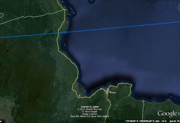 Jalur GMT 2016 untuk area Poso. Kredit: Xavier Jubier / Google Earth Pro