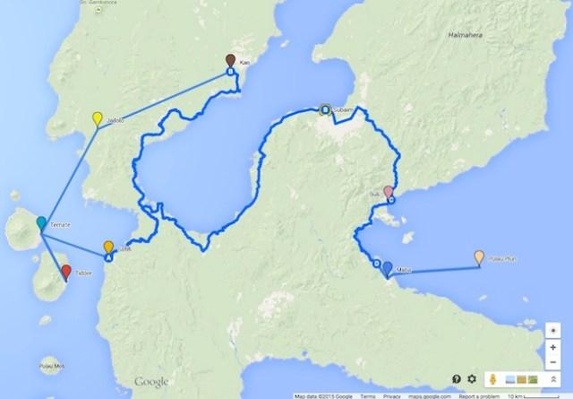 Peta Perjalanan selama di Maluku Utara.