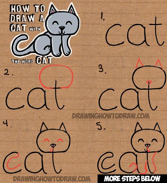 http://www.drawinghowtodraw.com/stepbystepdrawinglessons/2016/01/how-to-draw-a-cat-from-the-word-cat-easy-drawing-tutorial-for-kids/
