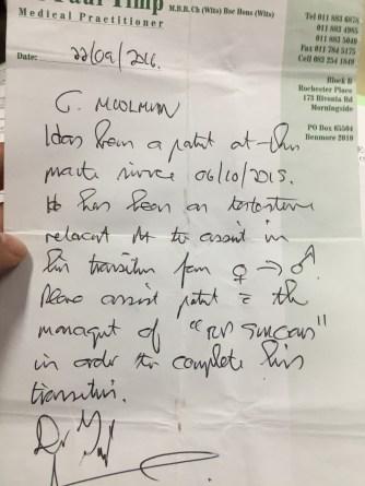 Letter from Dr Paul Timp - HRT-prescribing GP in Rivonia. Use of correct pronoun.