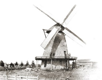 Wind powered grist mill by pioneer cemetery 1872, Cedarburg. Courtesy of Edw. Rappold