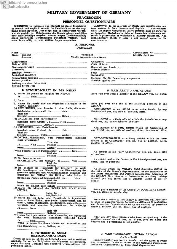 Fragebogen zur Entnazifizierung (1946)