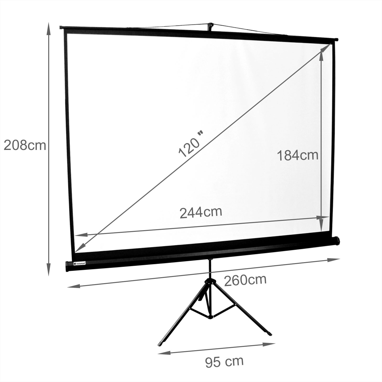 120 Projector Screen Tripod Stand Tv Hd Conference