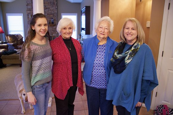 Caroline Williamson, Jean Rice, Elizabeth Burns and Sheryl Williamson are four generations of a family descended from original Germanna settlers.