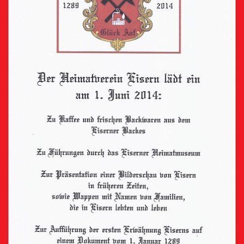 Eisern 750th invitation 2014