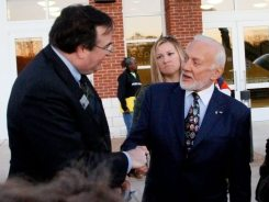 Germanna Foundation President J. Marc Wheat greets Germanna descendant Buzz Aldrin