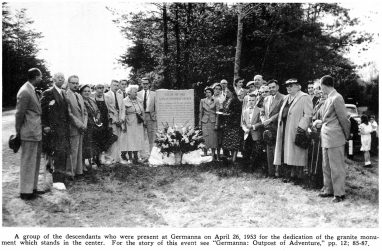 1953-April 26th Granite shaft, honoring the 1714 colony, unveiled at Germanna, with program.