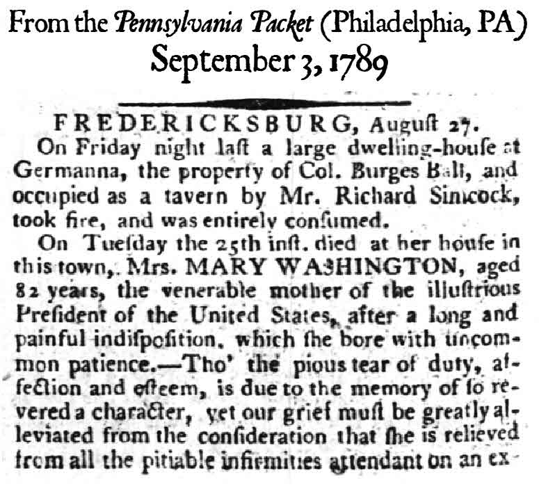 Pennsylvania Packet Sept 3, 1789