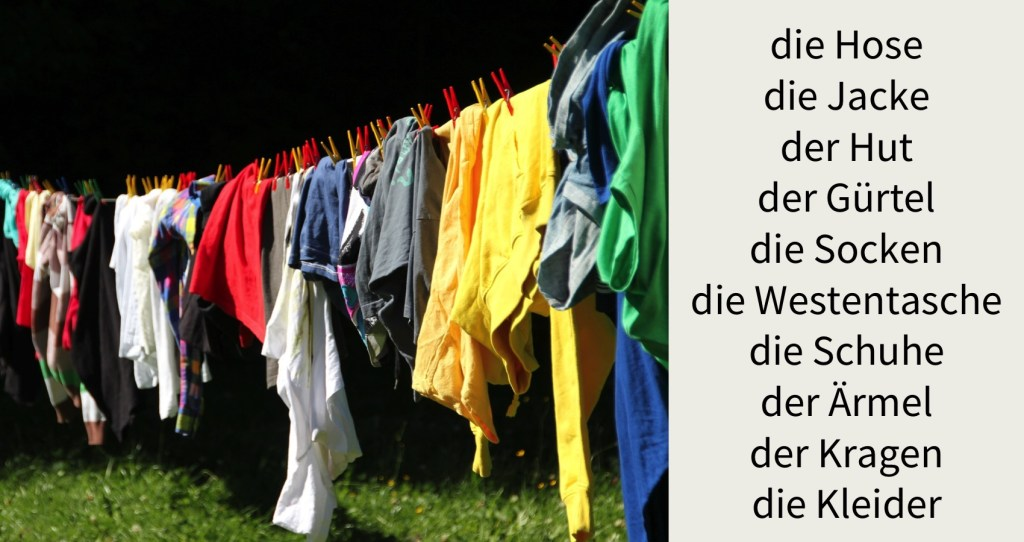 image showing different clothes hanging on washing line and list of names of items of clothing