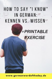 kennen vs. wissen difference in German