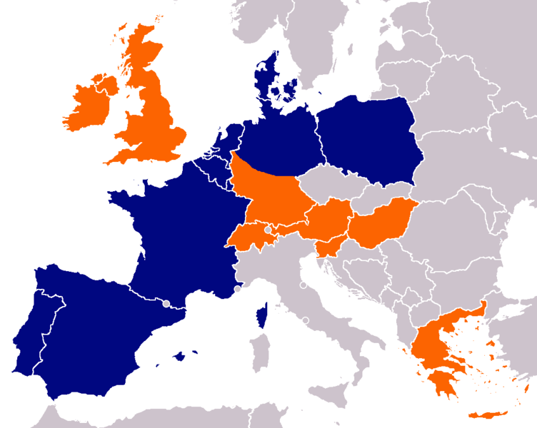 Map of Aldi distribution in Europe Map from Wikimedia