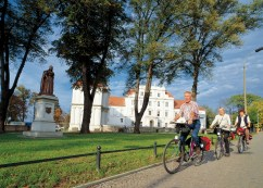 Berlin to Copenhagen cyclists passing Oranienburg Castle