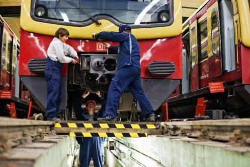 Working on S Bahn at Oranienburg workshops Berlin