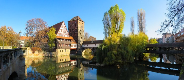 Ancient bridges span the river Pegnitz in the city centre